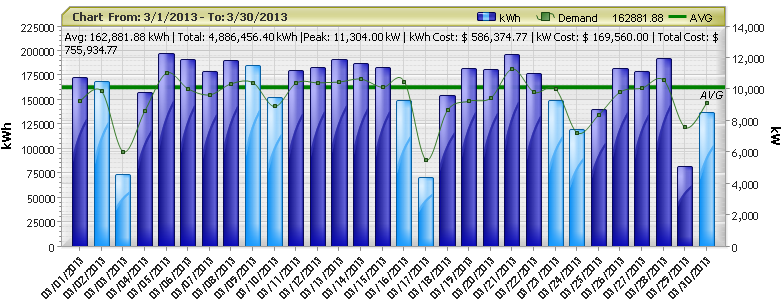 Daily Usage and Demand Data Graph